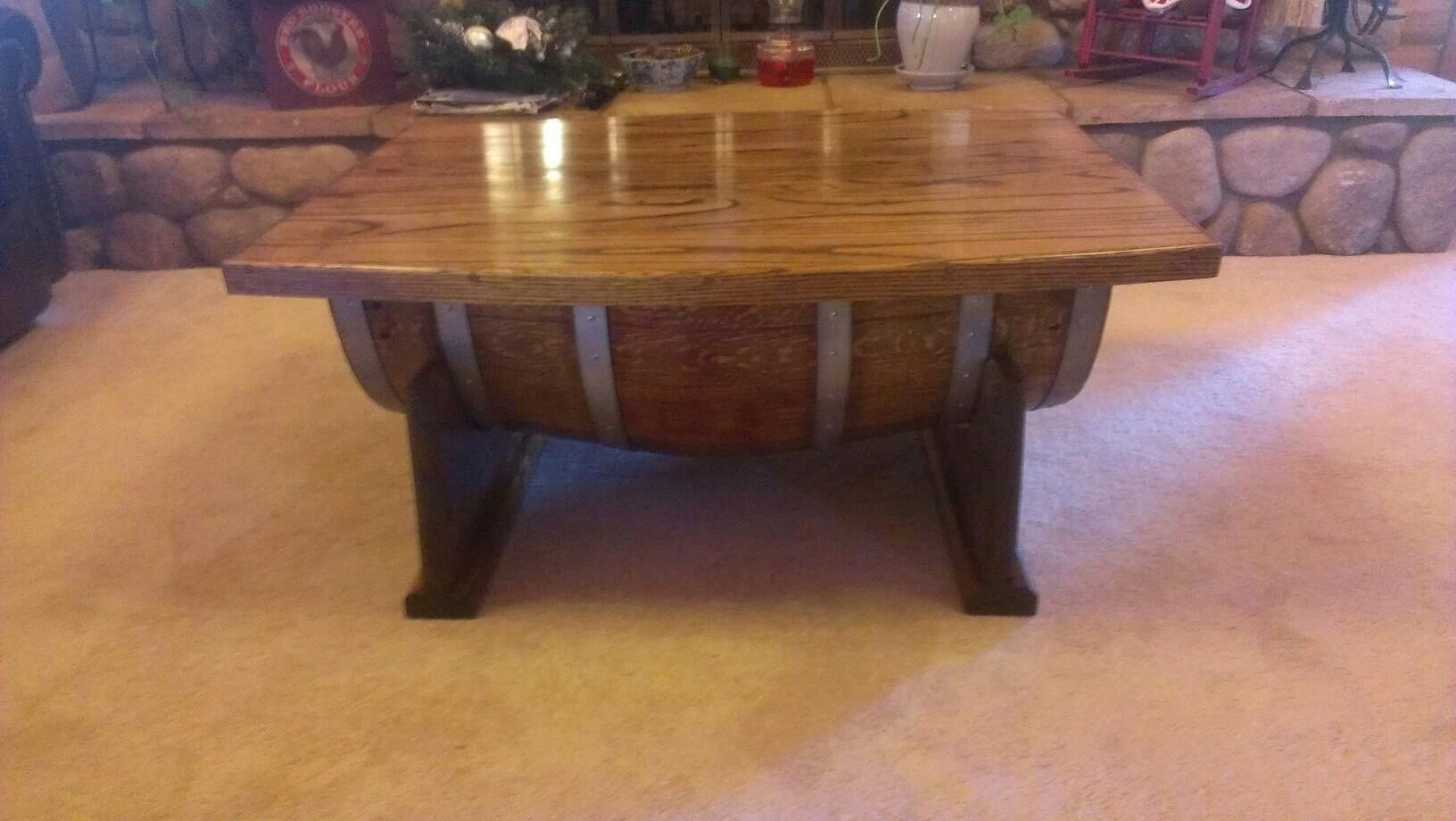Coffee Table With Lid Our Custom Wine Barrel Coffee Table The Lid Opens For