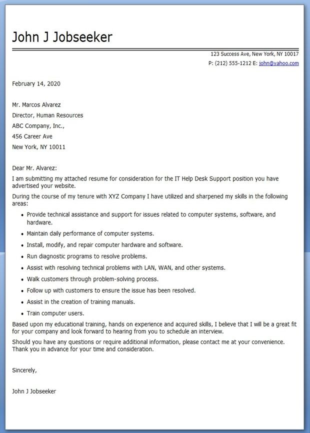 IT Help Desk Cover Letter Sample