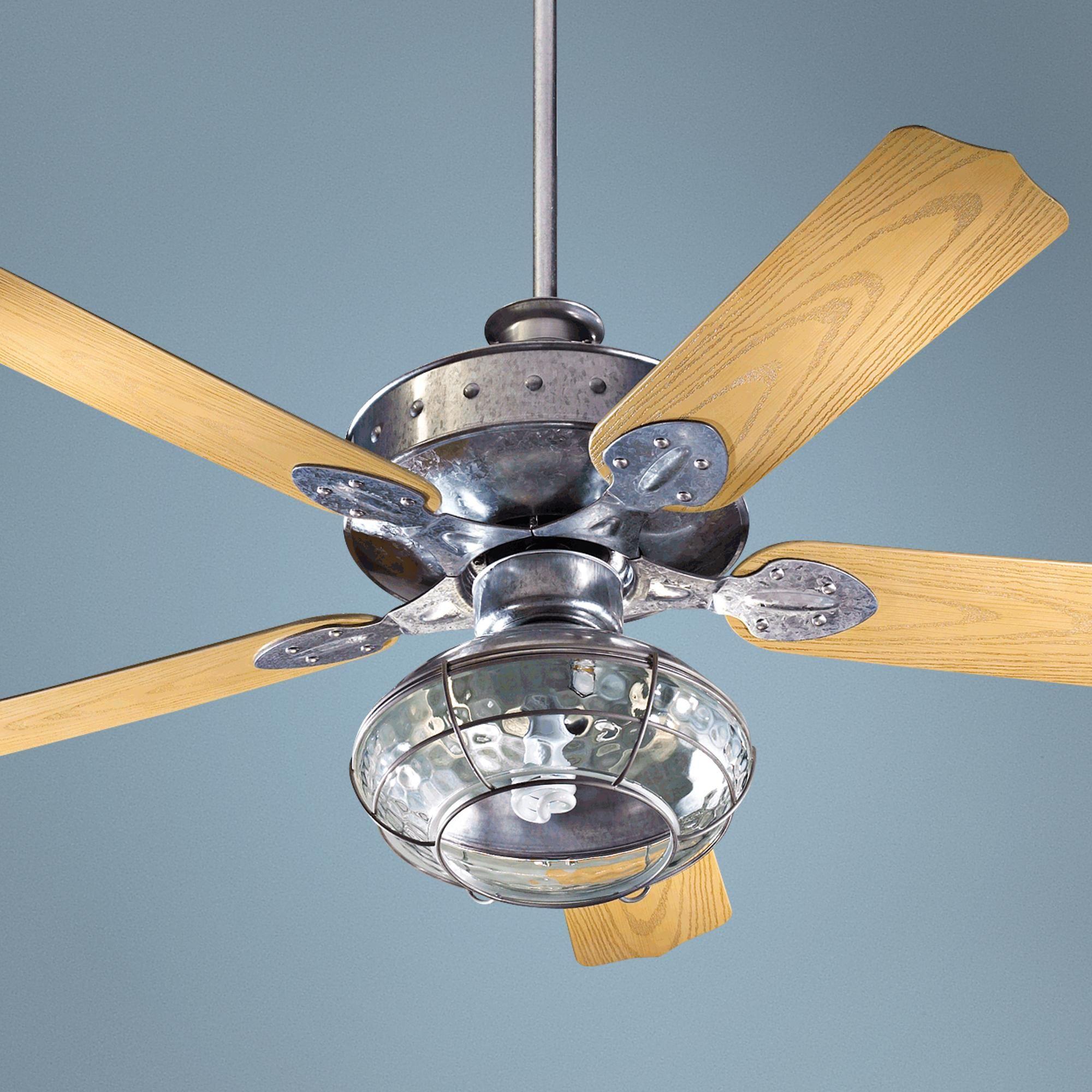 "52"" Quorum Hudson Galvanized Patio Ceiling Fan with Light"