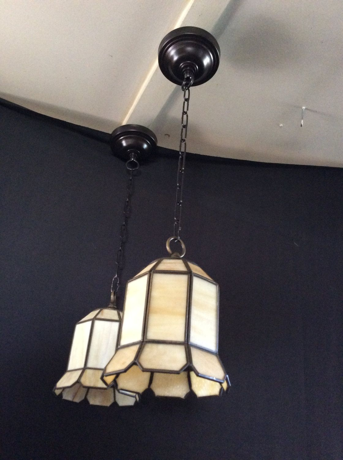 Antique Pair Victorian Stained Glass Pendant Lights 1920s & Antique Pair Victorian Stained Glass Pendant Lights 1920s | Vintage ...