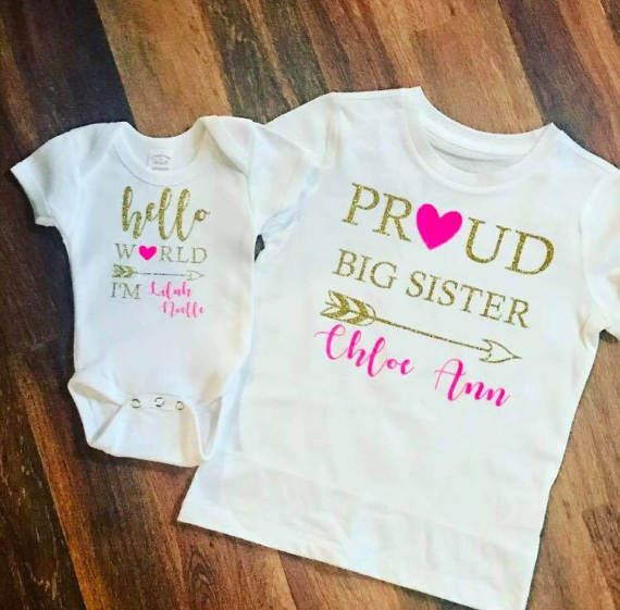 New Baby And Big Sister Matching Tshirts Get Yours Now Big Sister Outfits Funny Sibling Shirts Sibling Shirts