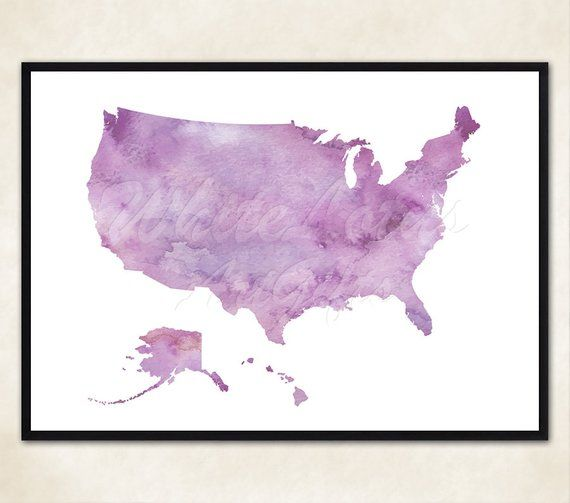 Purple State Map.Pastel Pink Purple Usa Map Print Watercolor Art United States Art