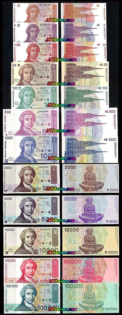 Croatia Banknotes Croatia Paper Money Catalog And Croatian Currency History Bank Notes Croatia Paper Money