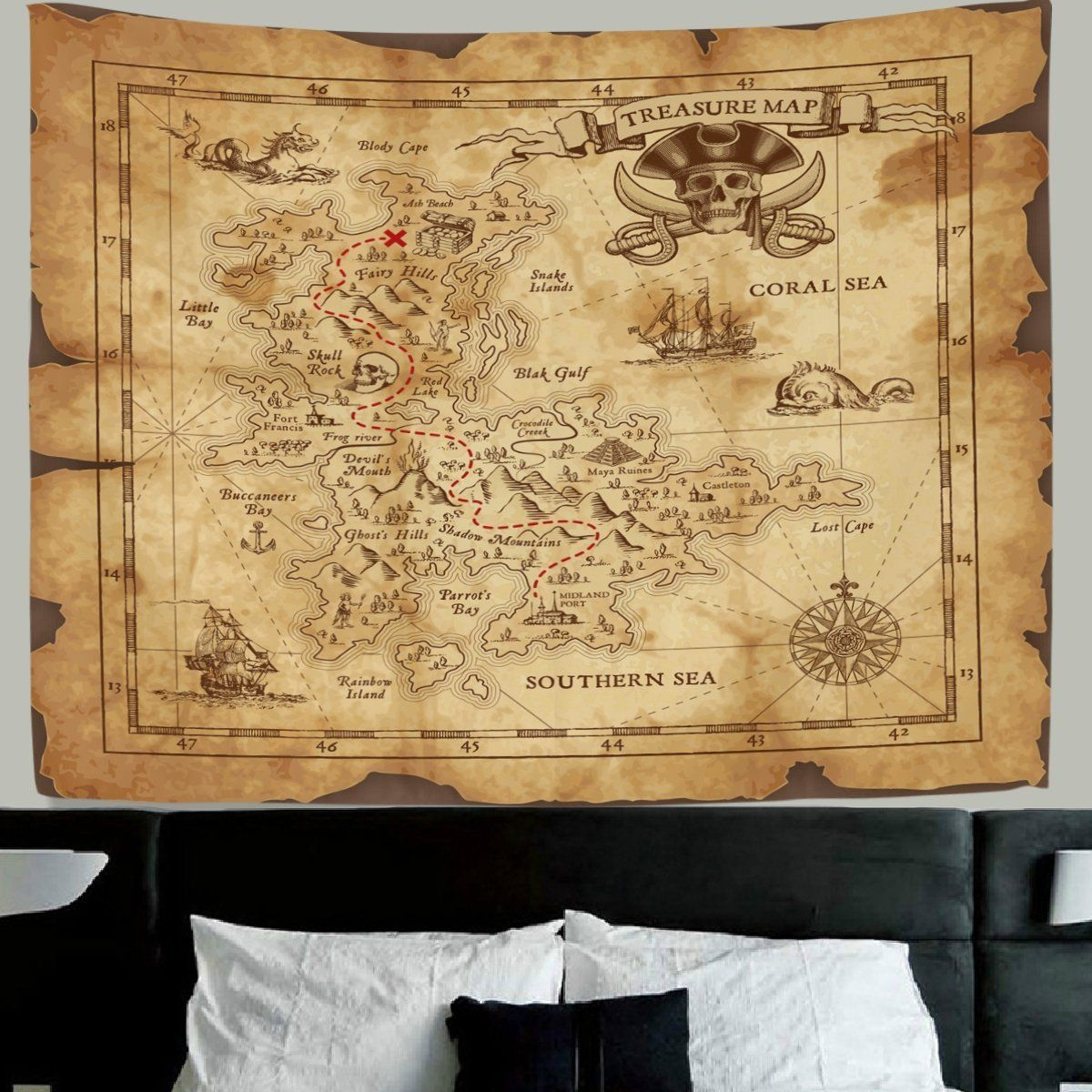 HMWR World Map Tapestry Wall Hanging Retro Antique Pirates Adventure ...