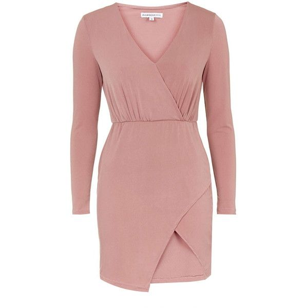 TOPSHOP **Wrap-Front Bodycon Dress by Glamorous Petites ($34) ❤ liked on Polyvore featuring dresses, petite, pink, red dress, long sleeve bodycon dress, plunge neck dress, red body con dress and pink bodycon dress