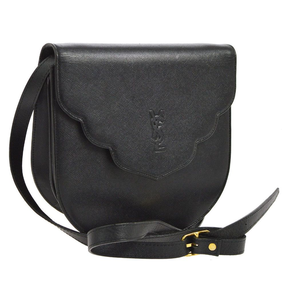e694bede35 Auth YVES SAINT LAURENT Cross Body Shoulder Bag Black Leather Vintage  YG00341