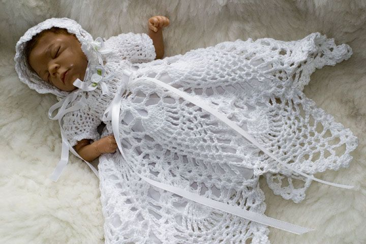 Free Crochet Christening Gown D2 Pineapple Christening ...