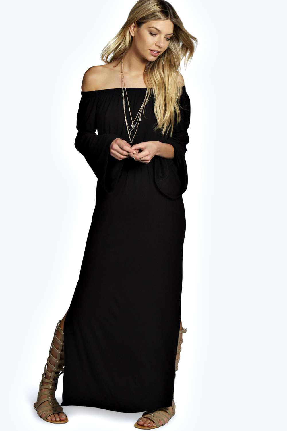 059020d52fdd Candy Wide Sleeve Off Shoulder Maxi Dress alternative image Black Off  Shoulder Dress