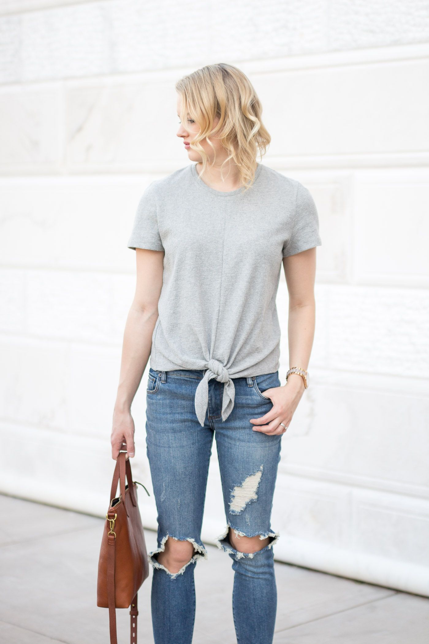 92eeeb34aece7 How To Style A Tie-Front Top, Madewell, spring outfit idea, fashion blog,  Treats and Trends