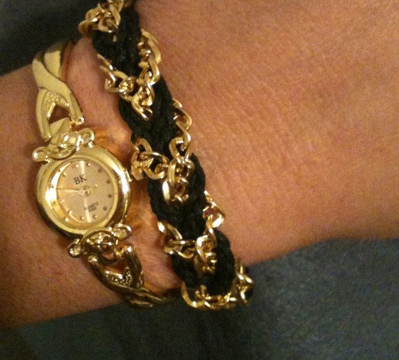 Set of 2 Black and Gold Watch and Bracelet by SimplyEdgyDesigns, $25.00