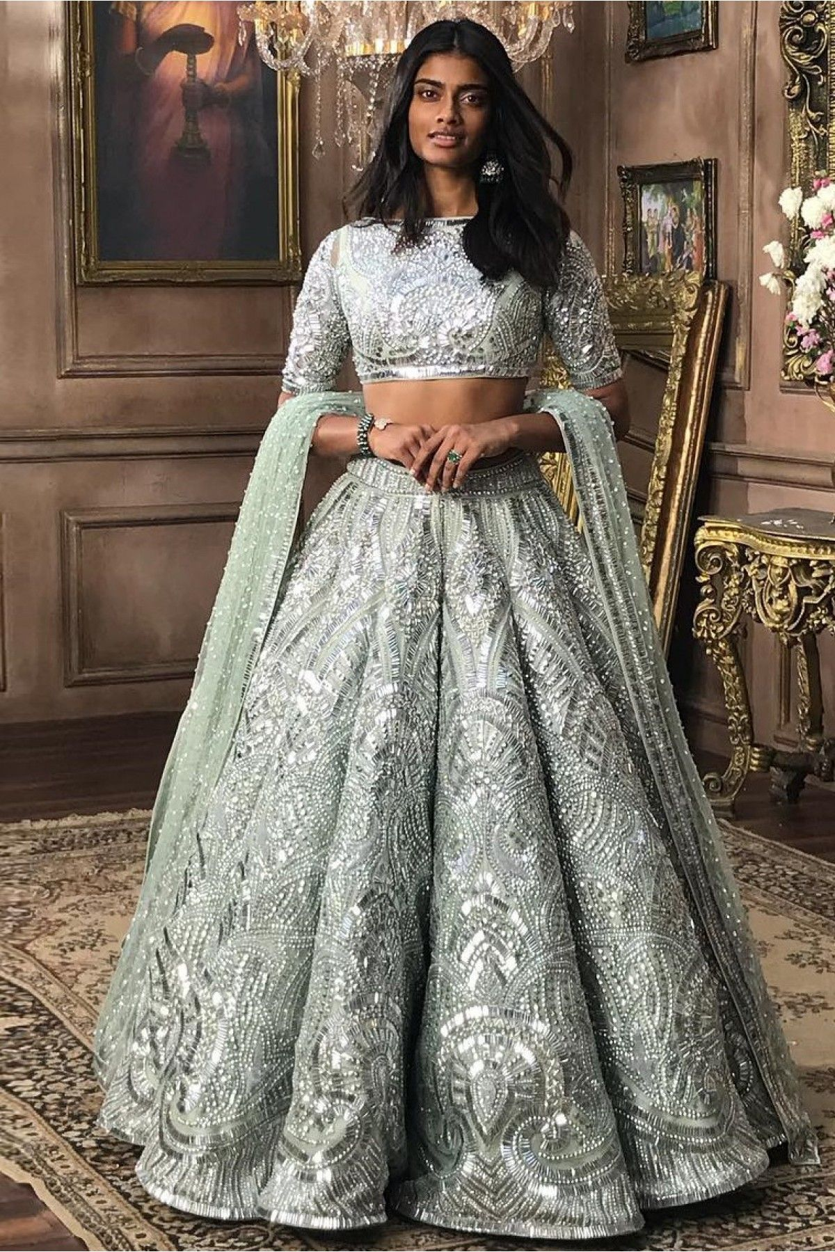 32f18f8e12 Buy Mastani Silk Lehenga Choli In Smoke Blue Colour for women @  ninecolours.com. Customize Tailoring available!