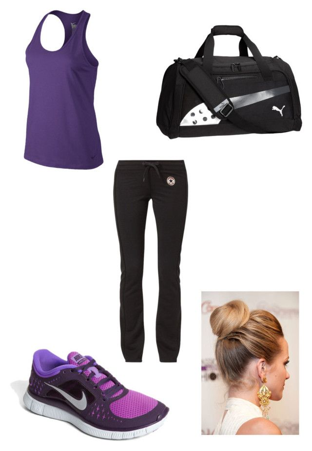 """""""Work-out Ouftit"""" by proffesionaldaydreamer ❤ liked on Polyvore featuring NIKE, Converse and Puma"""