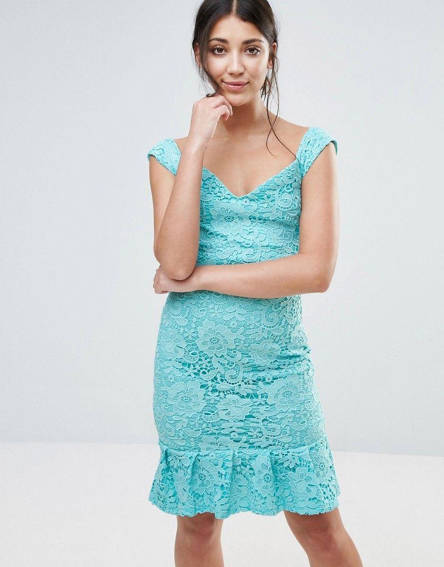 Paper Dolls - Bardot-Kleid mit Schößchen-Saum - Blau Jetzt bestellen ...
