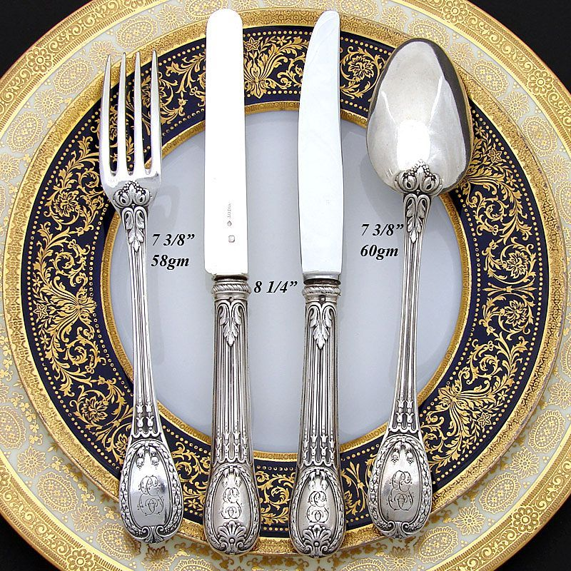 Antique French ODIOT 48pc Sterling Flatware Set Louveciennes Pattern Antique Silver French