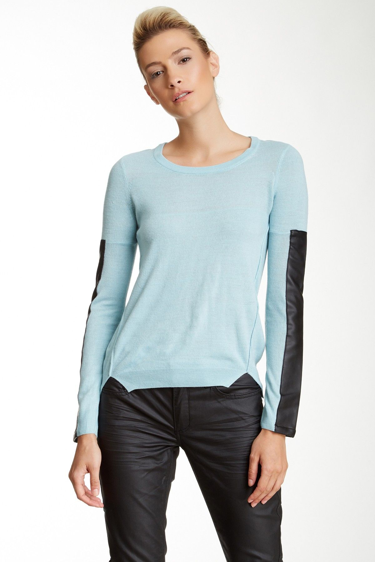 BCBGeneration Faux Leather Sleeve Pullover by BCBGeneration on @nordstrom_rack