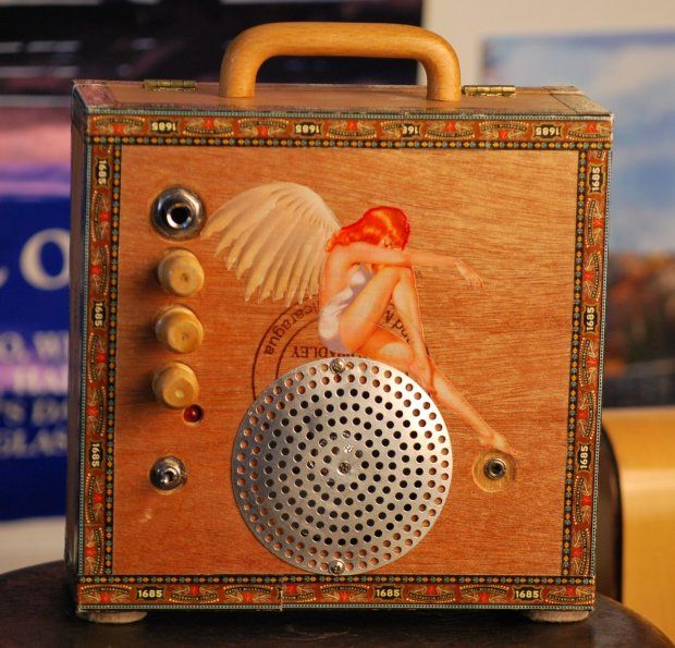 """Bluzman """"Blue Angel"""" Cigar Box Amp. What else would you use for your cigar box guitar?"""