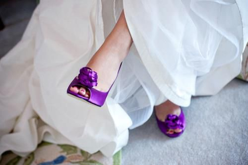 DARING BRIDE WITH PURPLE SHOES. CUTE