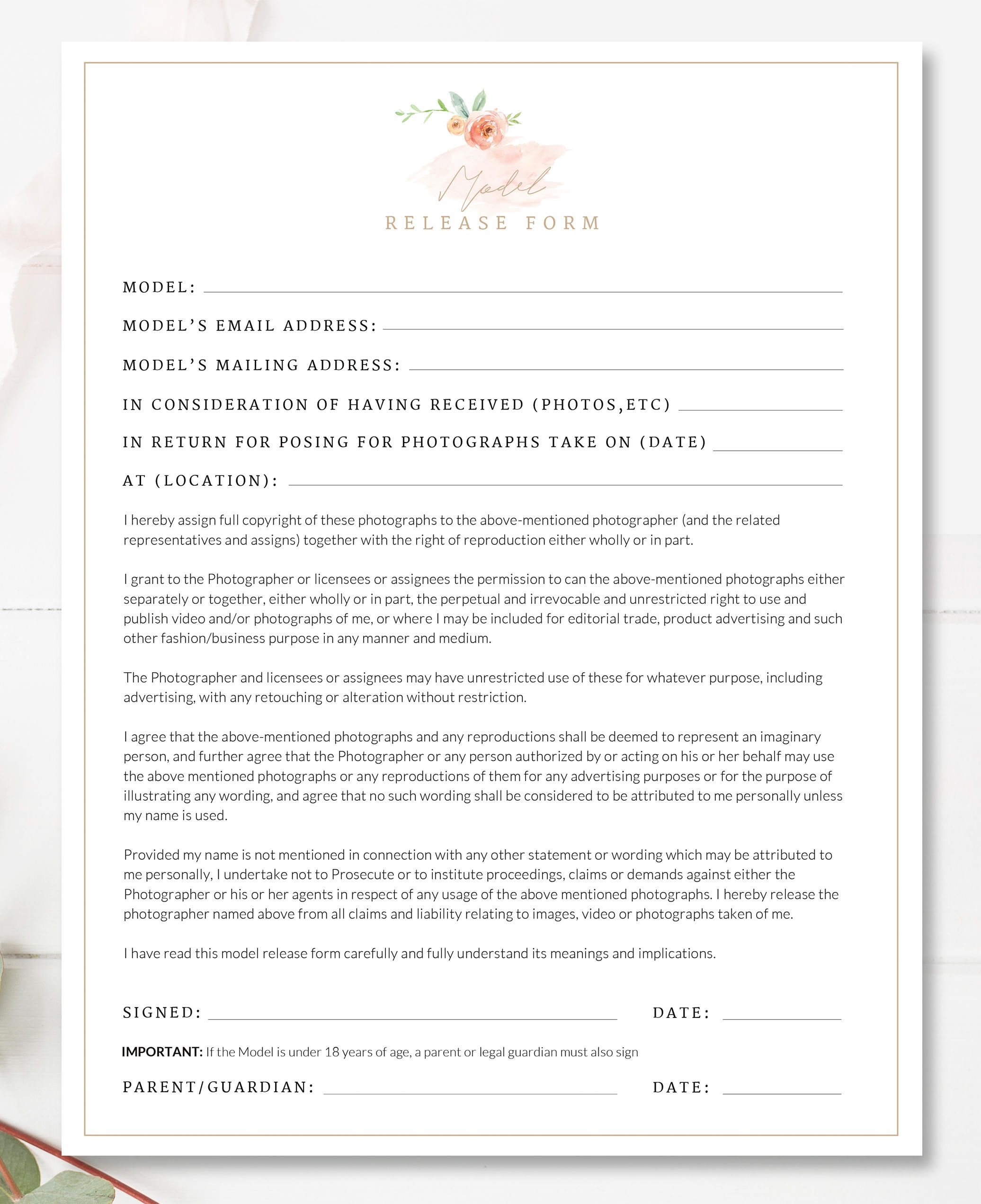 Printable Photography Contract, Model Release, Permission Form ...