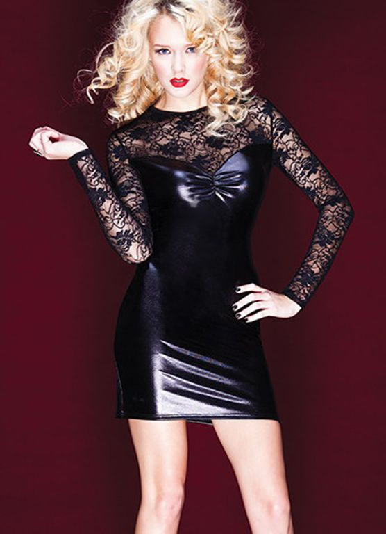 Long Sleeved Lace Folds Bow Sexy Dress