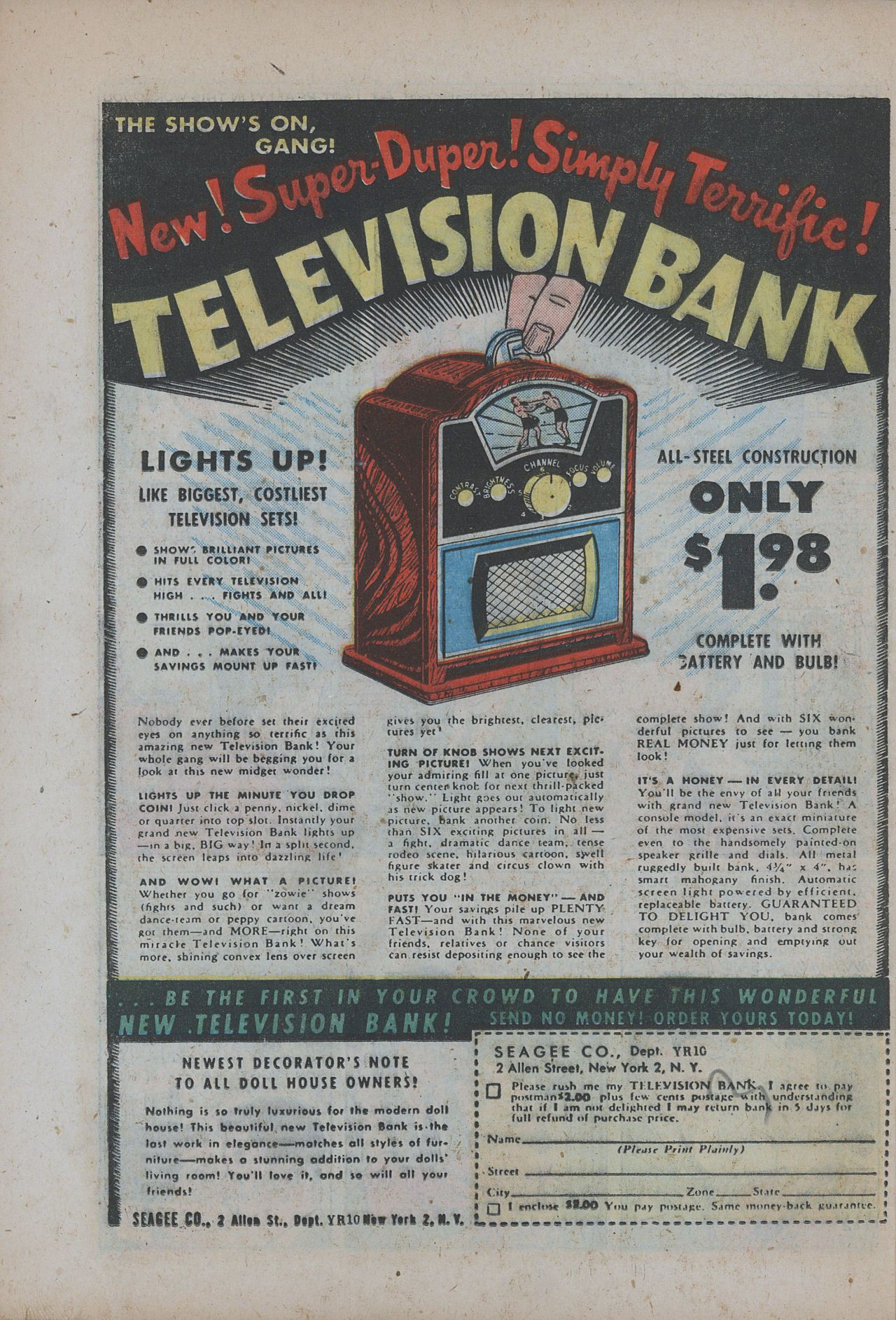 television bank from 1955 retro vintage advertising. Black Bedroom Furniture Sets. Home Design Ideas