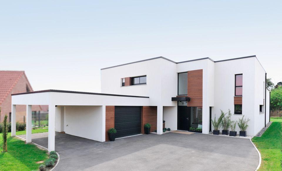entr e d 39 une maison cubique avec carport outdoor pinterest maison cubique entr e et. Black Bedroom Furniture Sets. Home Design Ideas