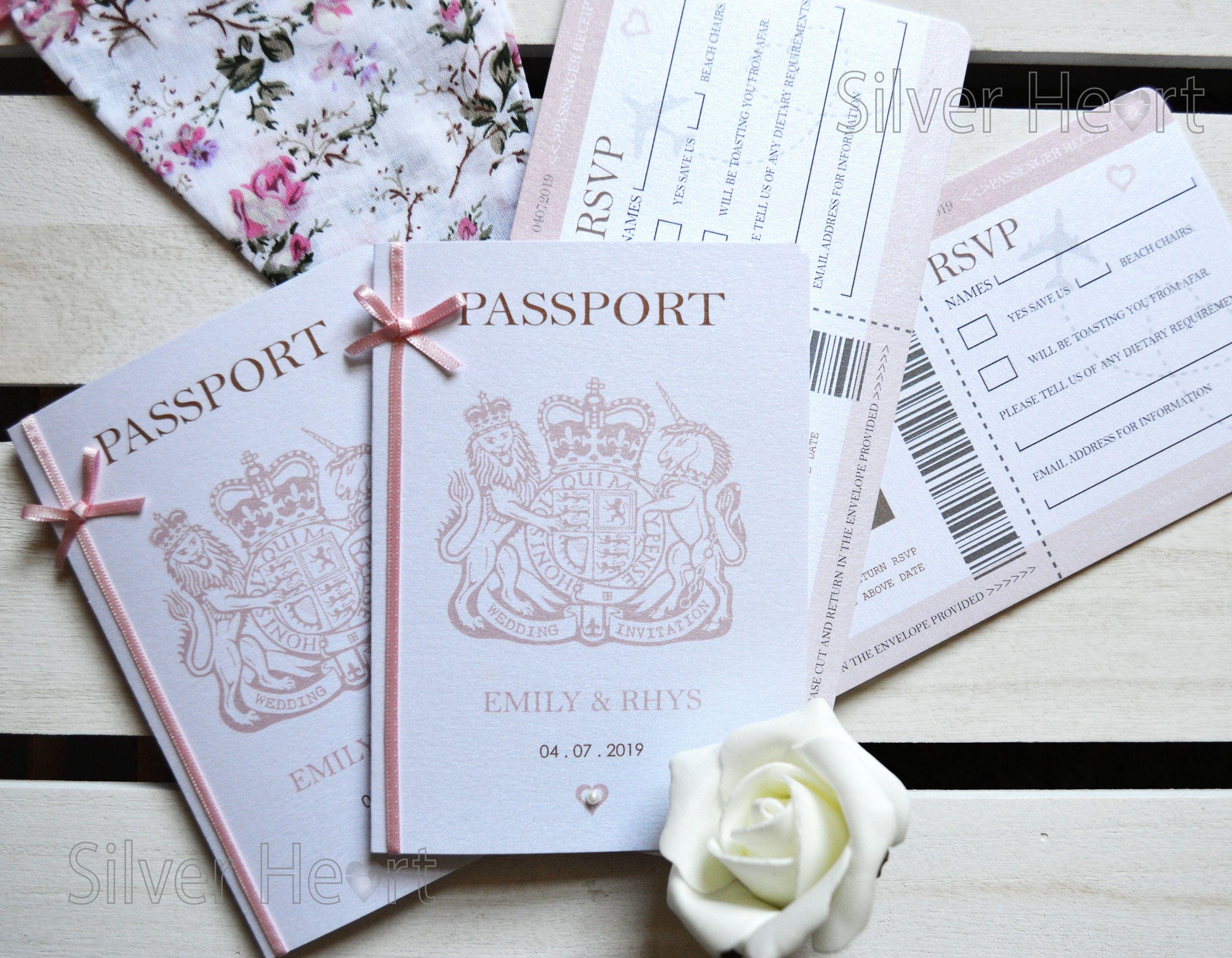 Bow Passport Wedding Invitation With