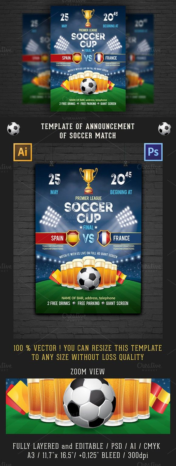 Soccer Poster  Flyer Template  Soccer Poster And Flyer Template
