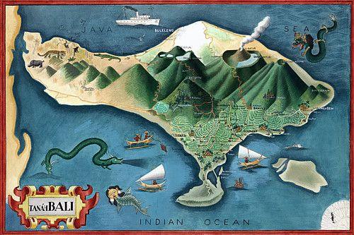 Bali balinese travel vintage posters art prints vintage venus for me map of tanh bali by miguel covarrubias gumiabroncs Choice Image
