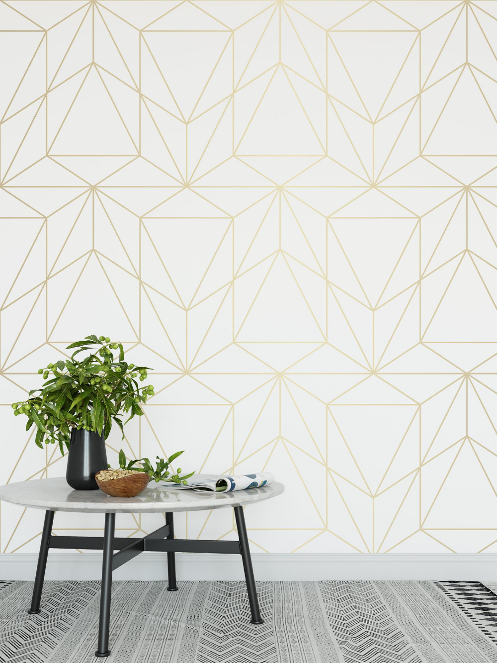 Peel And Stick Wallpaper Self Adhesive Wallpaper Removable Etsy Gold Geometric Wallpaper White And Gold Wallpaper Geometric Wallpaper