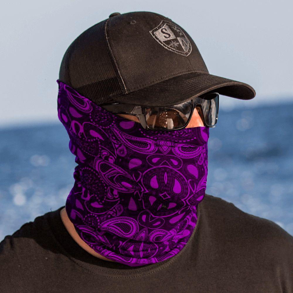 Purple Paisley Multi Purpose Face Shield Balaclava Bandana