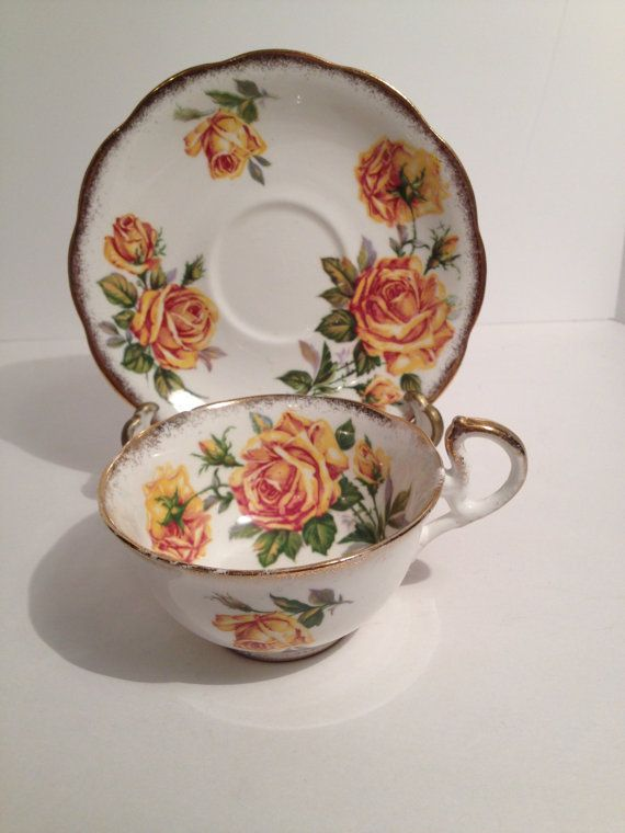 Royal Standard Yellow Rose Tea Cup and Saucer, Romany Rose Pattern,English Fine Bone China, Roses Inside Cup, Very Romantic and Elegant.