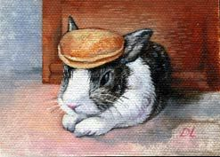A Miniature Painting Of Bunny With Pancake On Its Head By Dan Lacey