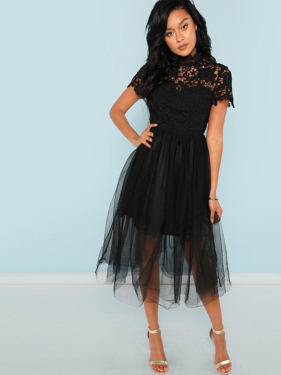 c9e9ae37b4 Floral Lace Bodice Mesh Dress -SheIn(Sheinside) | Christian Dior me ...
