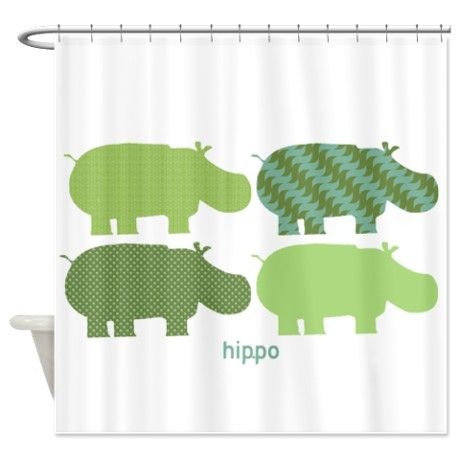 Spring Green Hippo Shower Curtain By Fiddlingpig With Images