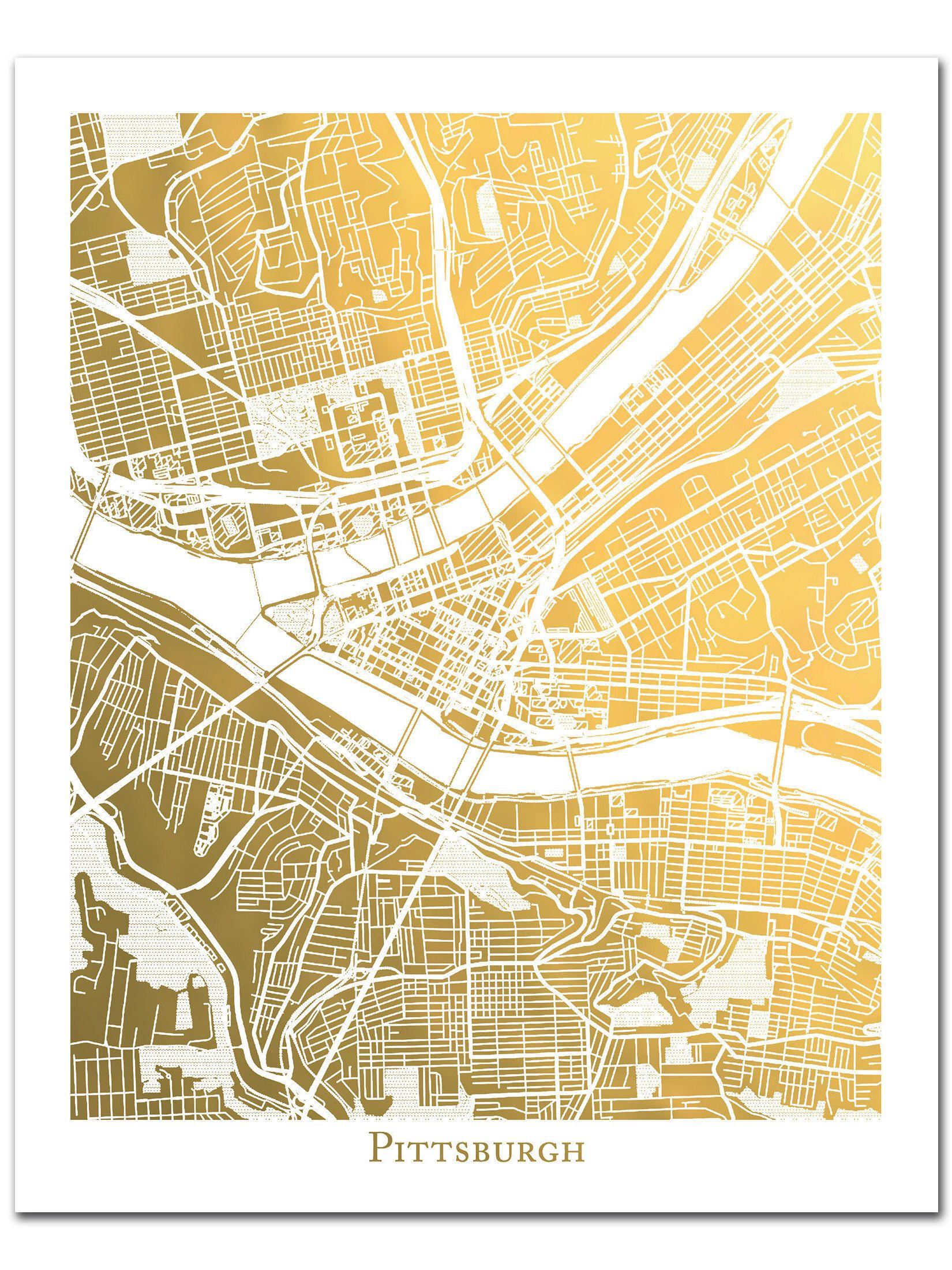 Pittsburgh Map Art, Gold Foil Map™, Gold Foil Print, Wall Art, Foil ...