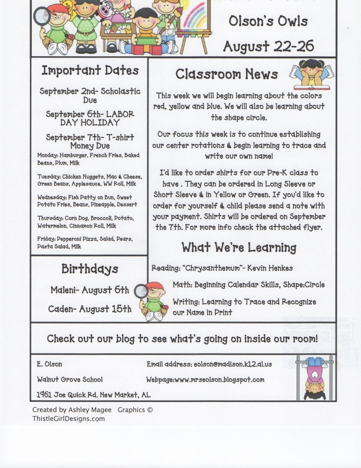 Mrs Olson S Rockin Kindergarten Krew Weekly Newsletter