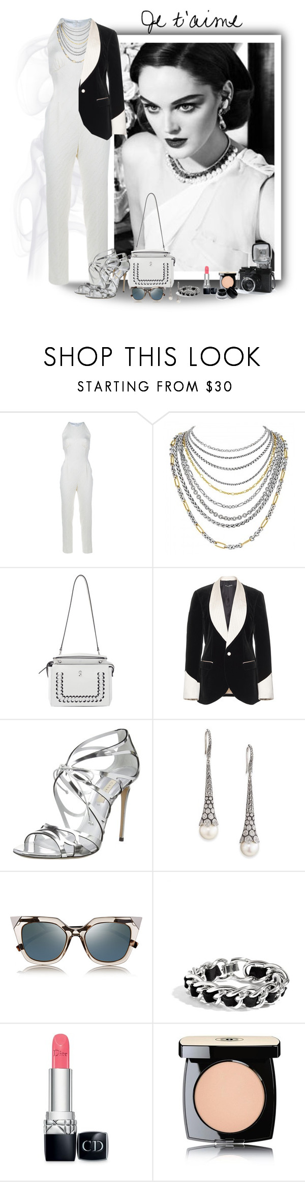 """Tell me I'm wrong"" by akhesa10 ❤ liked on Polyvore featuring Emilia Wickstead, David Yurman, Fendi, Dolce&Gabbana, Casadei, John Hardy, GUESS, Christian Dior, Chanel and Lomography"