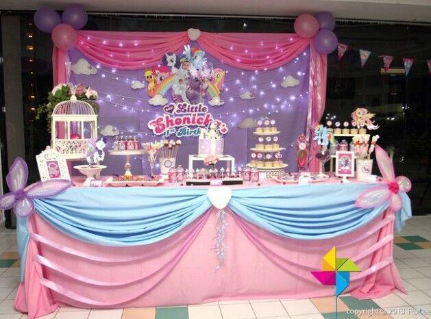 my little pony party ideas cake table decor