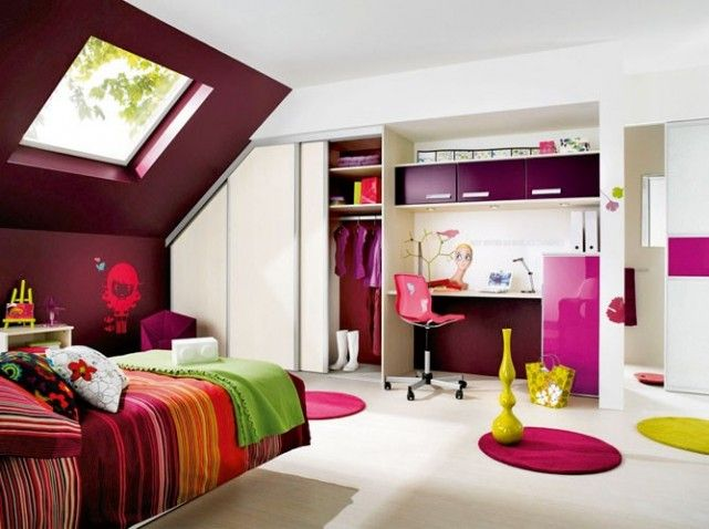 Chambre rose et violette pink and purple bedroom http for Optimiser rangement chambre