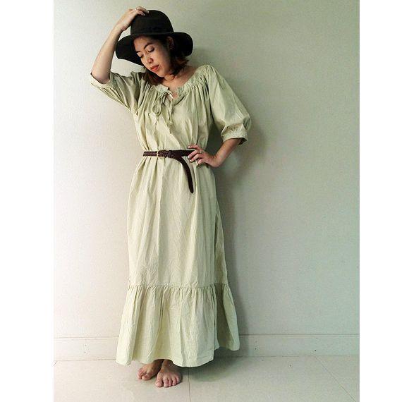 Sweet Tea Green Cotton Loose Maxi Baby doll Long Tunic by siam2u