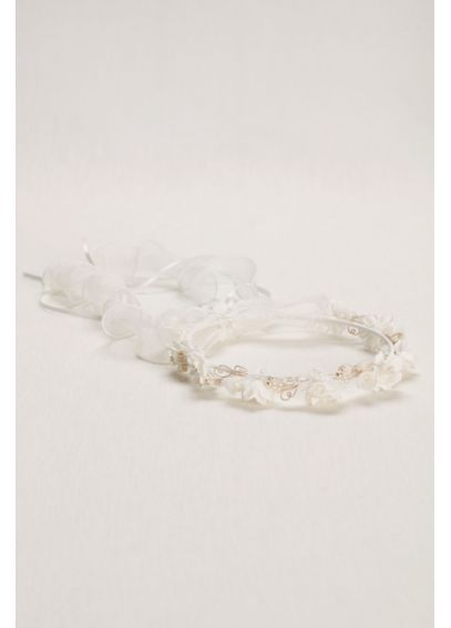 Pearl and Floral Flower Girl Wreath W9116
