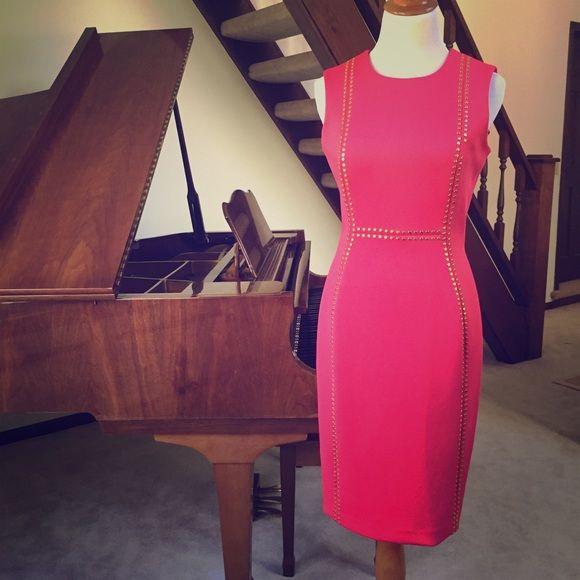 dbab4f26 Calvin Klein Studded Sheath Dress Amazing!!! Calvin Klein hot pink sheath  style dress