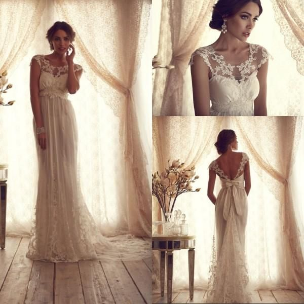 Lace wedding dresses simple a line scalloped long length for Empire lace wedding dress
