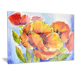 Designart 'Bouquet of Full Blown Poppies' Floral Metal Wall Art | Overstock.com…