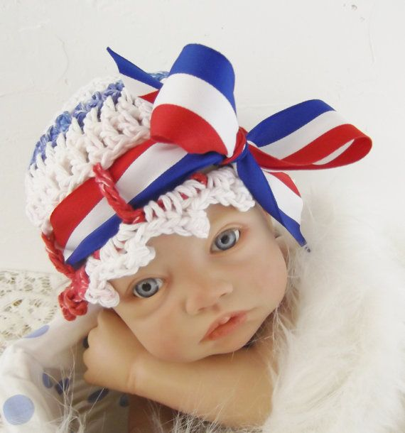 Happy Birthday, USA/ OOAK Newborn Crochet Hat in Red, White and Blue Cotton/Photography Prop