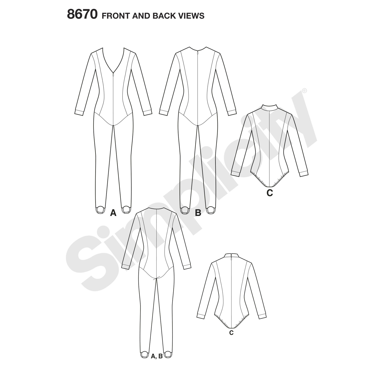 a39b07262 Simplicity Pattern 8670 Misses' Knit Bodysuit Costume | Craft 'n ...