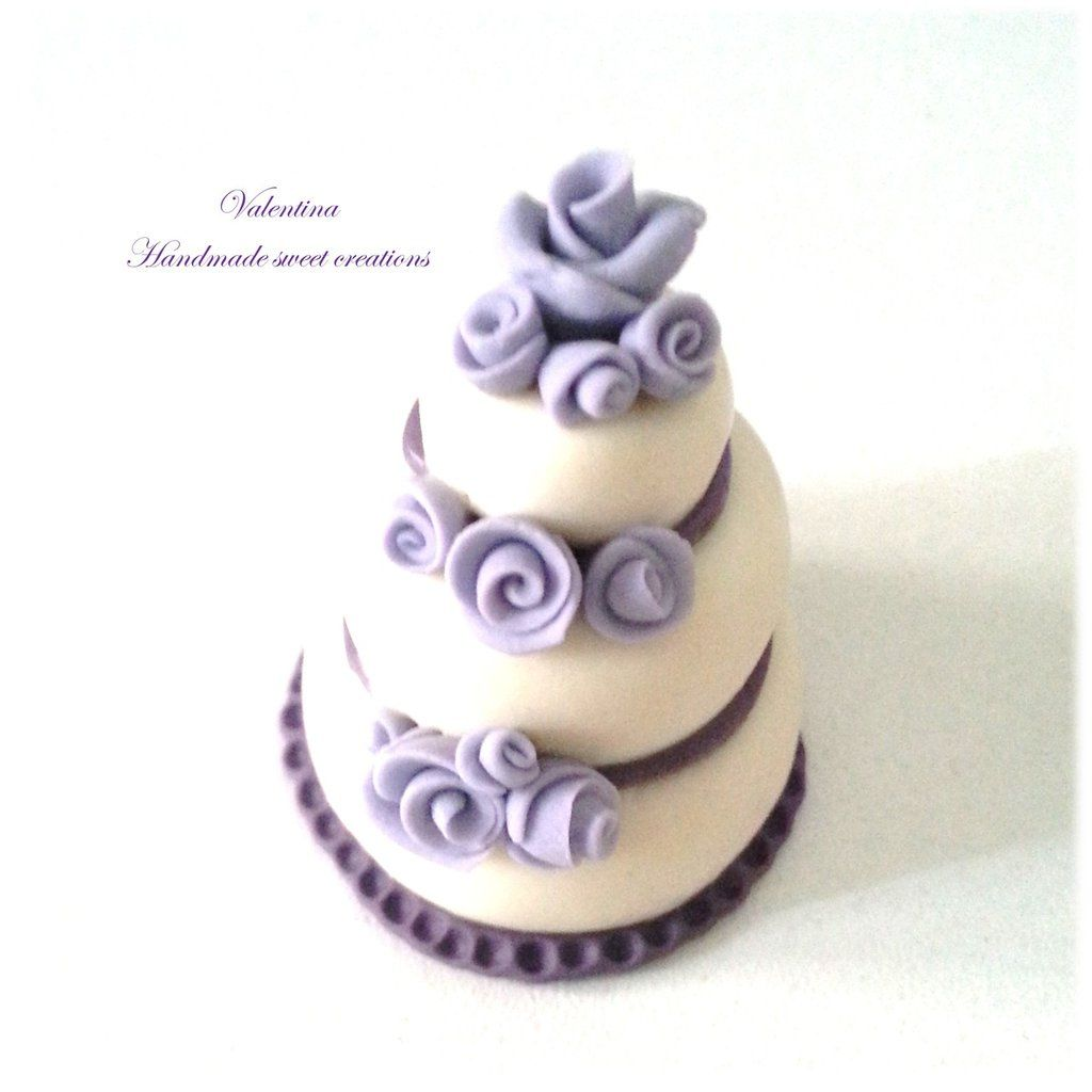 Segnaposto Matrimonio Wedding Cake.Mini Wedding Cake Segnaposto Matrimonio Torta Rose Lilla