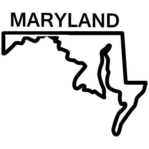 Maryland state outline decal sticker available in 19 colors