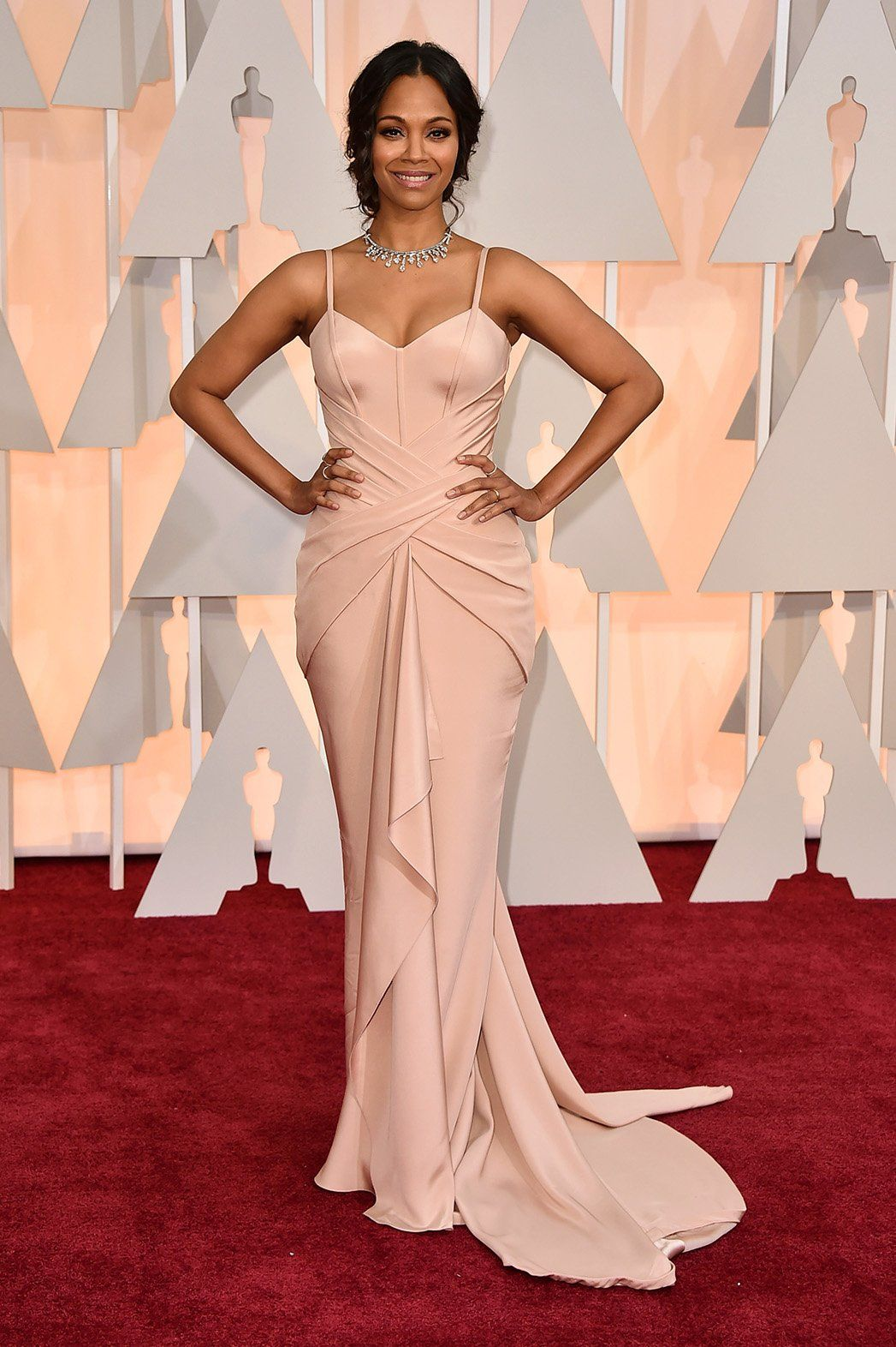 3927551636 Zoe Saldana Celebrity Actress Blush Pink Atelier Versace Gown Silver  Statement Necklace Oscars 2015 Red Carpet Stunning Elegant Black African  American Women ...