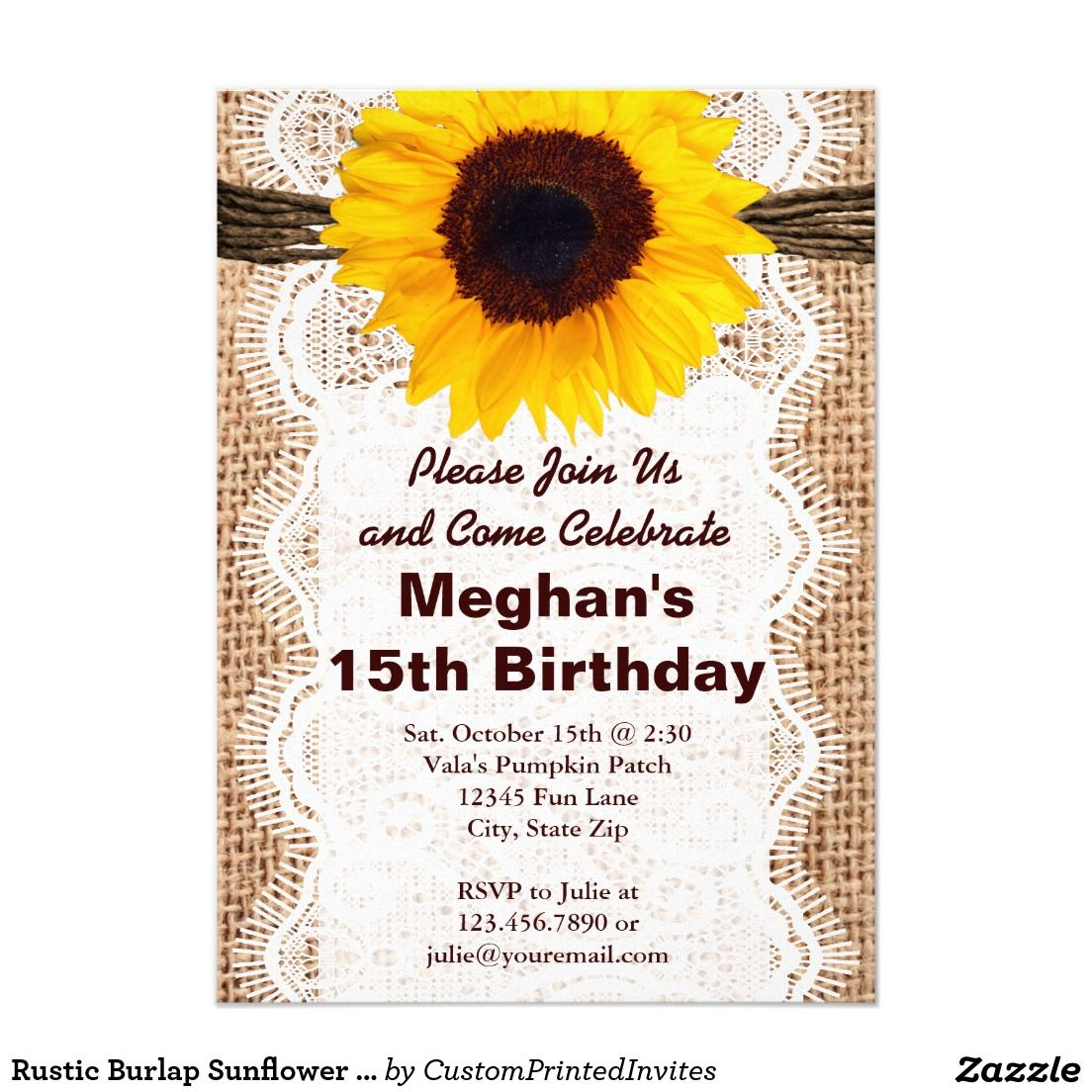 Rustic Burlap Sunflower Birthday Party Invitations | Sunflower ...